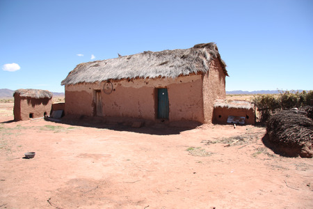 mud house: Abandoned clay buildings in Bolivian Altiplano, Bolivia