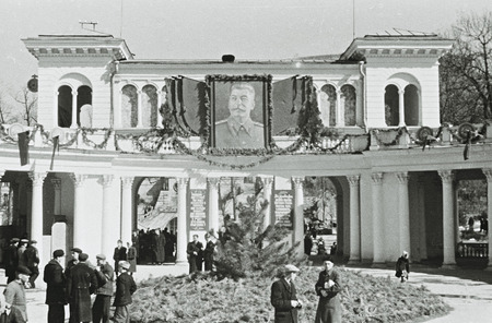 Communist: People in front of Colonnade - the landmark of Kislovodsk, Health resort, North Caucasus, Soviet Union, 1953 Editorial