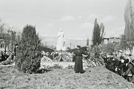 People mourn the death of Stalin and bring flowers to his monument in Kislovodsk, 1953, Soviet Union