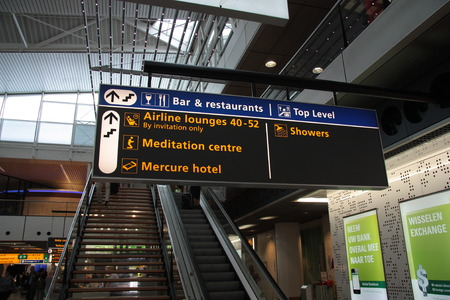 Board of the rest zone in Amsterdam Schiphol Airport, Netherlands