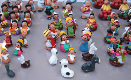 ridiculous: Miniature figures of Bolivian people and lamas
