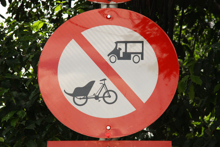 Traffic sign no tuk tuk and trishaw in Saigon city, Vietnam photo