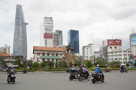 The landscape of Saigon: Đường phố trung tâm của Thành phố Hồ Chí Minh với Bitexco Financial Tower và tòa nhà hiện đại, Việt Nam - 20140729