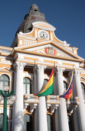 palacio: Legislature Building at Murillo Square in La Paz, Bolivia, South America