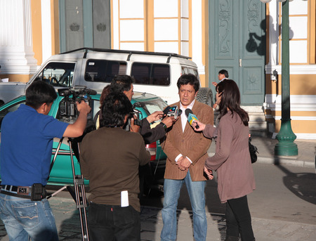 Reporters interview in front of Government Palace of Bolivia, La Paz - 22.08.2013
