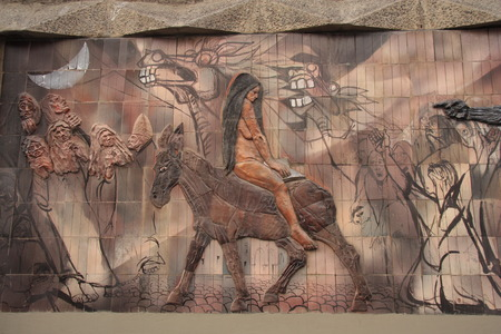 persecution: Modern Indian art at the wall of La Paz Theater, Bolivia, South America