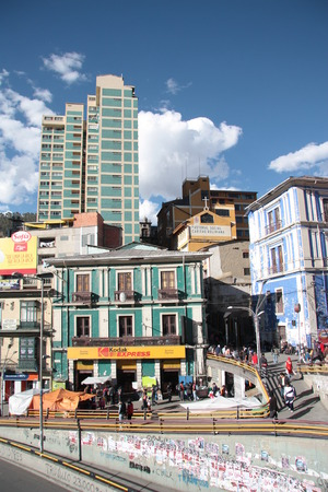 People walking in a central street of La Paz, Bolivia, South America - 31.08.2013