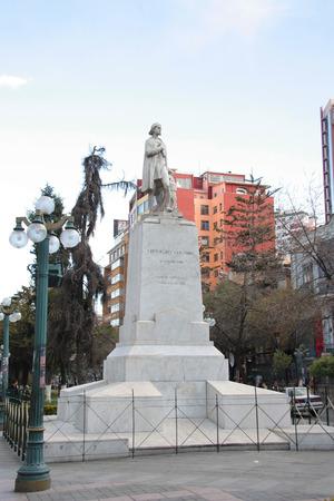columb: Statue of Christopher Columbus in a central street of La Paz - El Prado Boulevard, Bolivia, South America - 06.09.2013