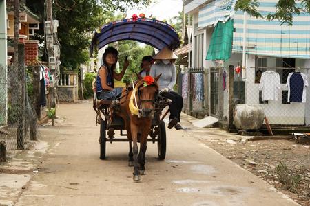 carreta madera: Carro rural del caballo con los turistas en el pueblo de Vietnam - 31072014