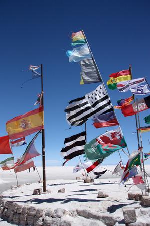 salar: Flags in desert of Salar de Uyuni, Bolivia