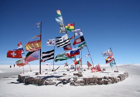 salar: Flags in a salt desert of Salar de Uyuni, Bolivia