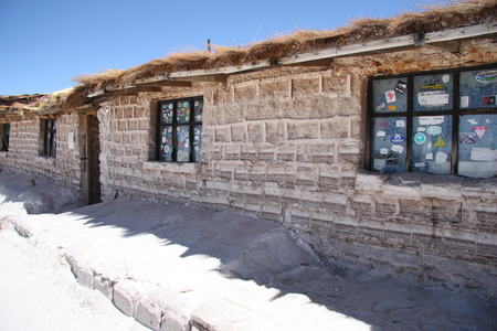 barrack: Hotel built of salt blocks in Salar de Uyuni Salt Desert in Bolivia - 08.09.2013