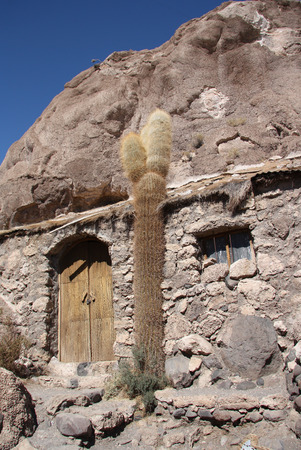 Old house and cactus at Isla del Pescado - Incahuasi island, Salar de Uyuni, Bolivia Stock Photo