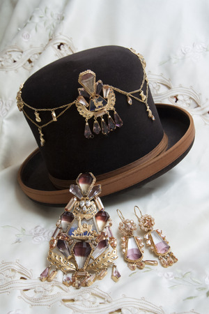 jewell: Traditional Bolivian golden jewelry with Bolivianit for native woman Cholita, Bolivia