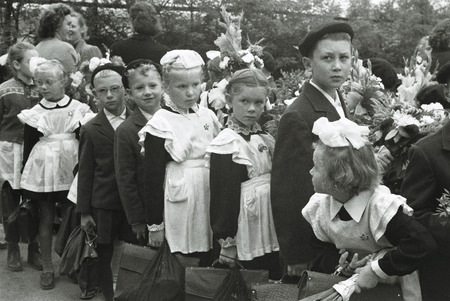 old photograph: Vintage Photograph of School Children at the first day of school, Soviet Union, Moscow, 1.09.1960