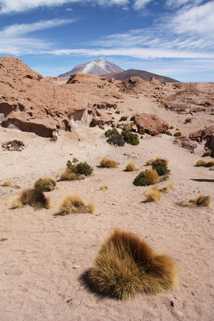 atacama: Atacama desert with Ollague volcano, Bolivia, Chile