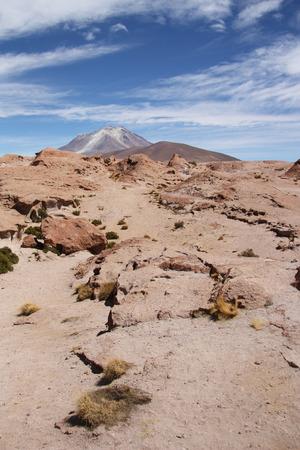 high desert: Atacama stone desert with Ollague volcano, Bolivia, Chile
