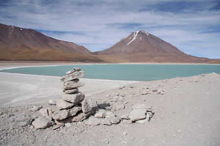 salar: Laguna Verde and Volcano in Atacama desert, Salar de Uyuni, Bolivia Stock Photo