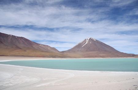 atacama: Green lagoon and Volcano in Atacama desert, Salar de Uyuni, Bolivia