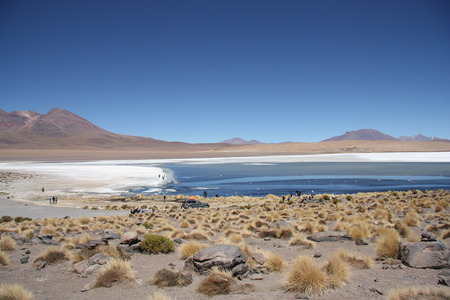 rout: Atacama Desert stone landscape and tourist cars at the lagoon in Uyuni, Bolivian Andes
