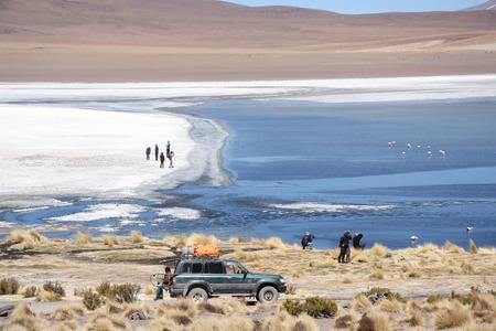 atacama: Tourists travel to Salar de Uyuni, Bolivia - 18.09.2013 Editorial