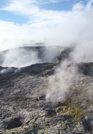 sulphuric acid: ?racked earth of Geyser Sol de Manana in Eduardo Avaroa National Park in Altiplano of Bolivia, Andes