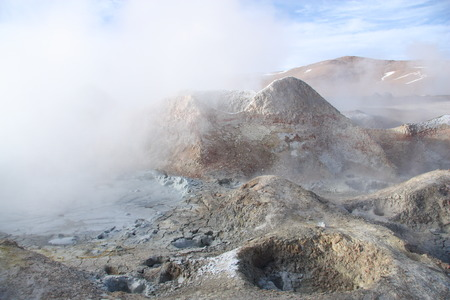 Sulphuric acid pools of geyser in Altiplano of Bolivia