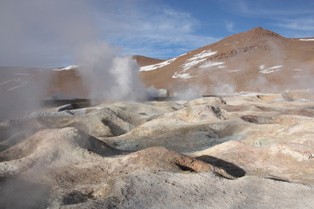 sulphuric acid: Moon landscape of Geyser Sol de Manana in Eduardo Avaroa National Park in Altiplano of Bolivia, Andes