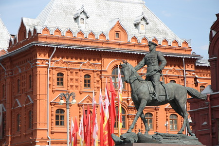 Monument of Soviet General Georgy Zhukov at Manezhnaya Square in Moscow, Russia