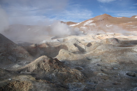 sulfide: Sulphuric acid erosion, from the volcanic activity in Altiplano of Bolivia Stock Photo