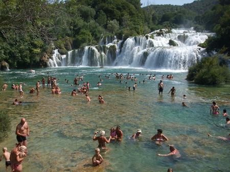 stupendous: People at Amazing KRKA Waterfall in Croatia - 10.08.2009