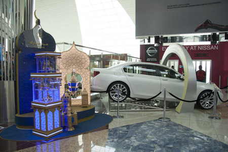 car retailer: Nissan stand at Duty Free area of Dubai Airport United Arab Emirates 28.07.2014