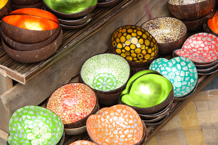 souvenir traditional: Vietnamese traditional bowls made from a coconut and sea shells
