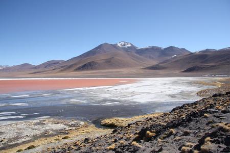 sulphuric acid: Mountain landscape with Laguna Colorada in Bolivia South America