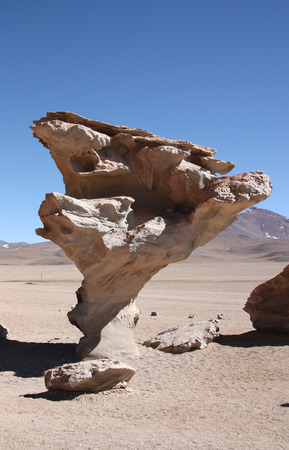 erosion: El Arbol de Piedra, a stone rock formation by wind erosion in Atacama Desert in Bolivia