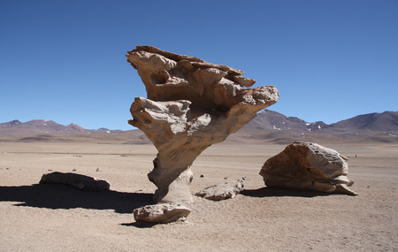 Stone valley with famous Arbol de Piedra, a stone rock formation by wind erosion, in Atacama Desert in Bolivia