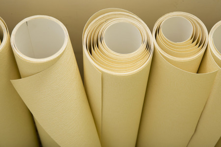 building materials: Rolls of wallpaper ready for applying on the wall Stock Photo