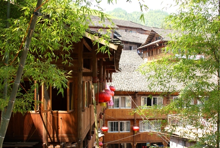 miao: Traditional wooden houses in village, Southern China Stock Photo