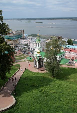 gorky: RUSSIA, NIZHNY NOVGOROD, 7 AUGUST 2012 - Nizhny Novgorod view with Volga river and the city square, Russia Editorial