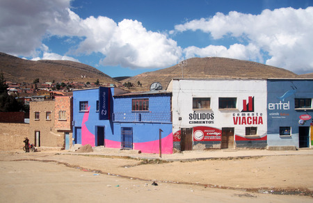 BOLIVIA, ALTIPLANO, 14 AUGUST 2013 - The street of a small town on Altiplano in Bolivia, South America Editorial