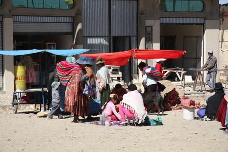 hard sell: BOLIVIA, LA PAZ, EL ALTO, 27 SEPTEMBER 2013 - Poverty in streets of Bolivia, La Paz, South America