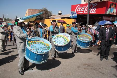 cochabamba: BOLIVIA, COCHABAMBA, 15 AUGUST 2013 - Drummers play music on festival in Cochabamba, Bolivia Editorial