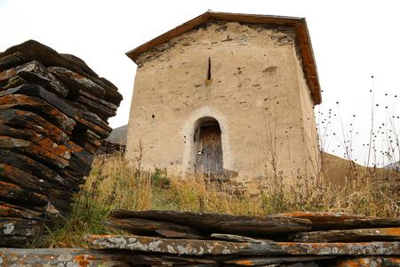 svan: The medieval St George church Jgrag of 11-12th century, Zhibiani, Ushguli, Upper Svaneti, Georgia