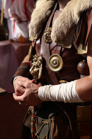 honour: Leather armor of an Ancient Roman warrior close up