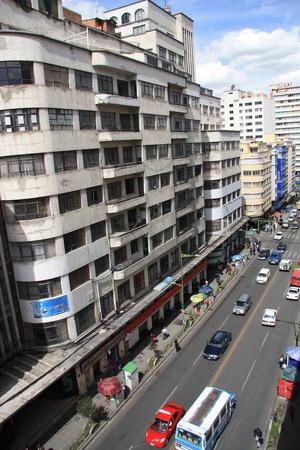 BOLIVIA, LA PAZ, 2 OCTOBER 2013 - Ramshackle concrete apartment building in Camacho Avenue, La Paz, Bolivia Editorial