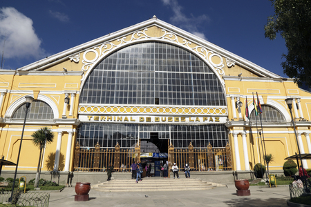 BOLIVIA, LA PAZ, 11 FEBRUARY 2017 - The Terminal of the Central Bus Station of La Paz City, Bolivia, South America Editorial
