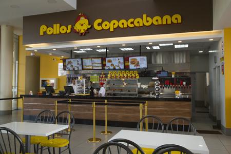 BOLIVIA, LA PAZ, 13 FEBRUARY 2017 - Counter in the Famous Pollos Copacabana fast food restaurant in La Paz, Bolivia, South America
