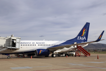 cochabamba: BOLIVIA, COCHABAMBA, 16 JANUARY 2017 - The plane of Bolivian Airlines in the airport of Cochabamba waiting for passengers, Bolivia