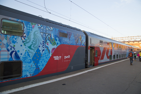 kazansky: RUSSIA, MOSCOW, AUGUST 27, 2015 - The modern double-decker train named SOCHI 2014 at the Kazansky Train Station in Moscow, Russia