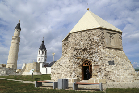 RUSSIA, TATARSTAN, BOLGAR, 26 SEPTEMBER 2015 - East Mausoleum and Big Minaret Complex of Bolgar ancient city on Volga river, archaeological site near Kazan, Tatarstan, Russia